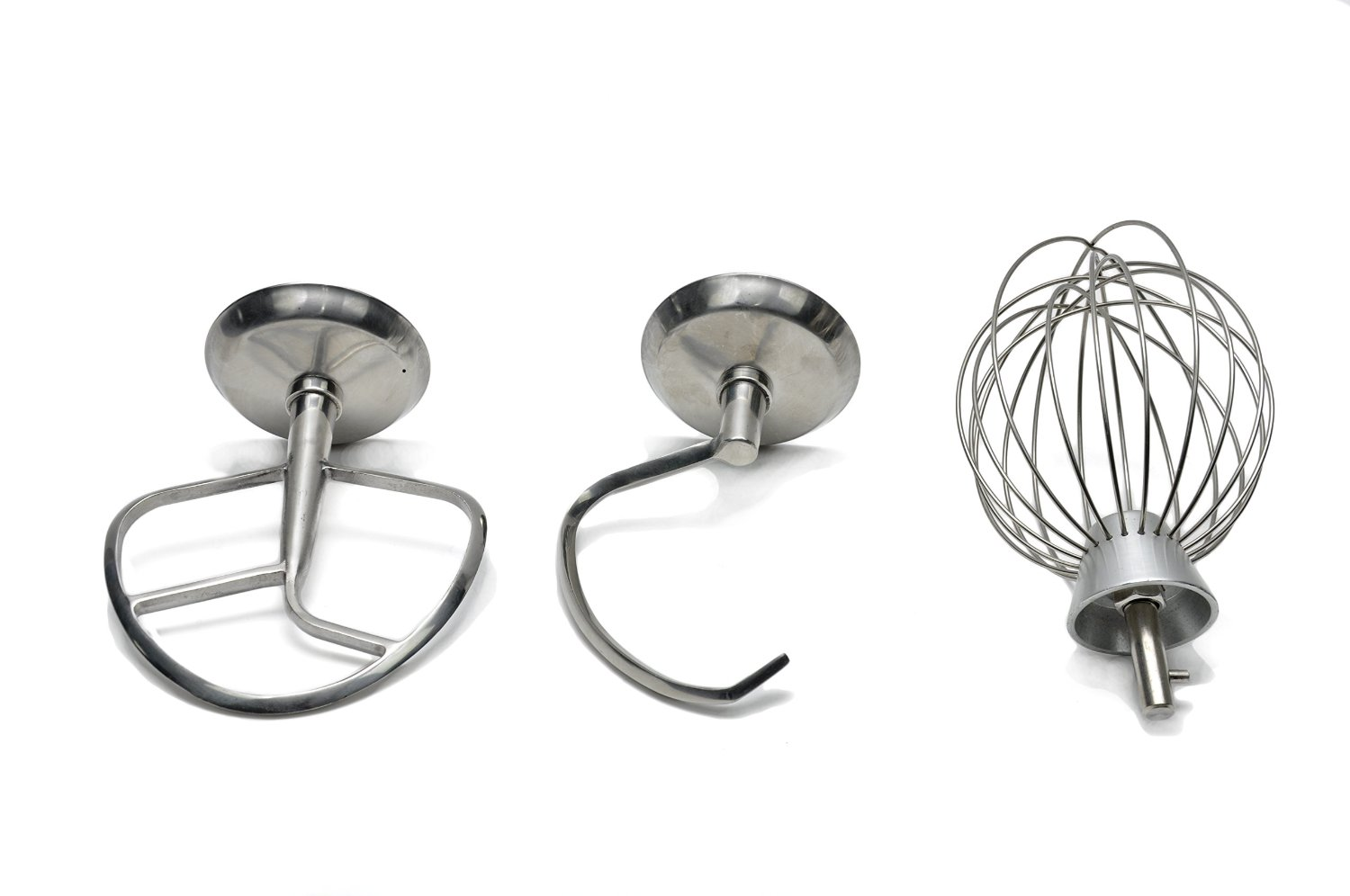 dough hook, flat beater and wire whip